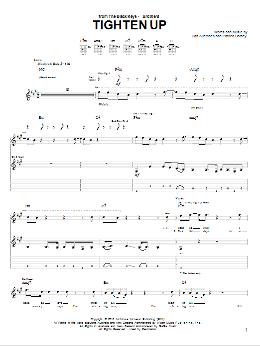 The Black Keys Tighten Up sheet music notes and chords