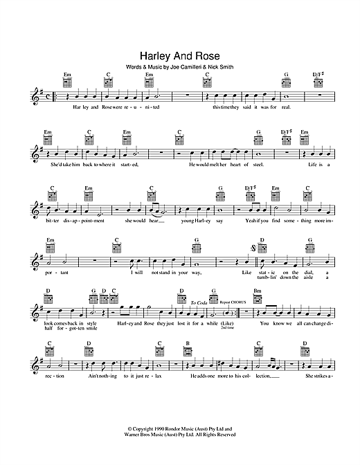 The Black Sorrows Harley And Rose sheet music preview music notes and score for Melody Line, Lyrics & Chords including 2 page(s)