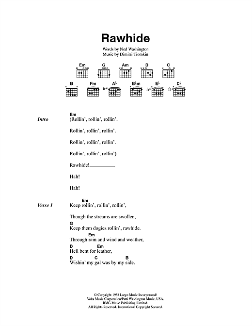 The Blues Brothers Rawhide sheet music preview music notes and score for Lyrics & Chords including 3 page(s)