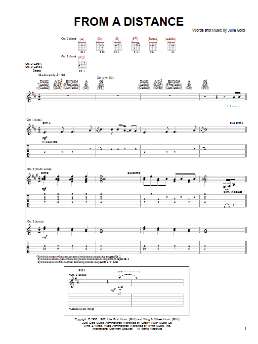 The Byrds From A Distance sheet music notes and chords