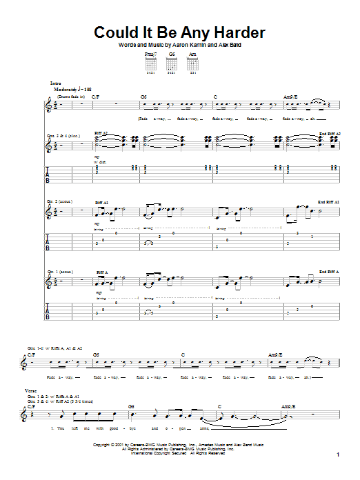 The Calling Could It Be Any Harder sheet music preview music notes and score for Guitar Tab including 7 page(s)