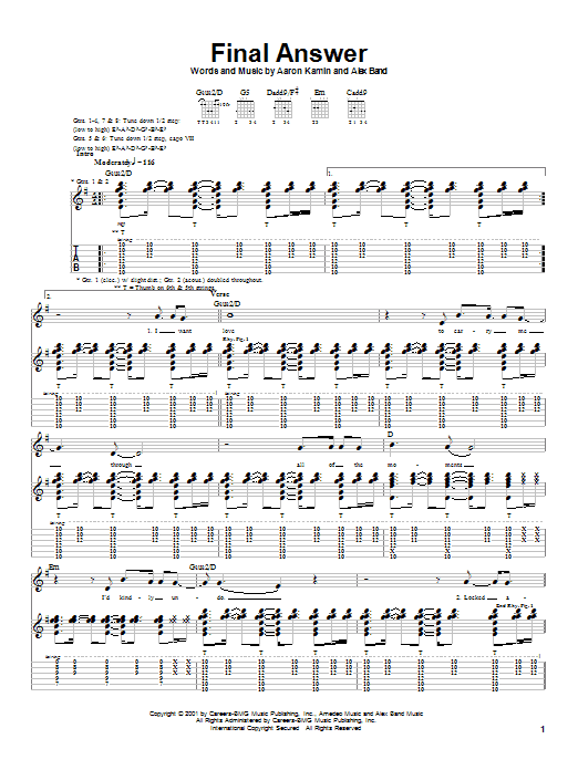 The Calling Final Answer sheet music preview music notes and score for Guitar Tab including 8 page(s)