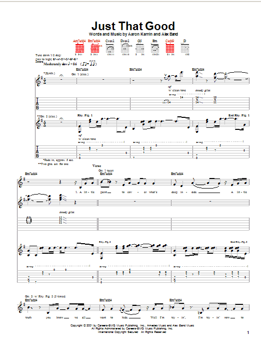 The Calling Just That Good sheet music preview music notes and score for Guitar Tab including 10 page(s)