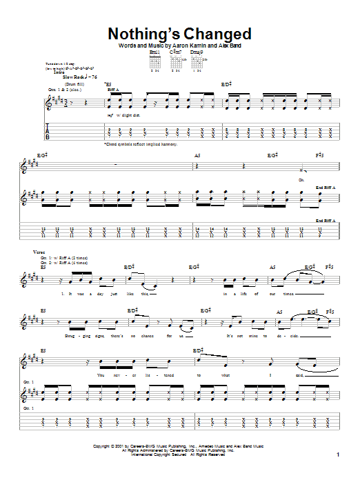 The Calling Nothing's Changed sheet music notes and chords
