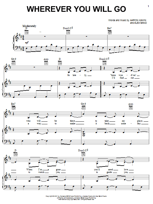 The Calling Wherever You Will Go sheet music notes and chords