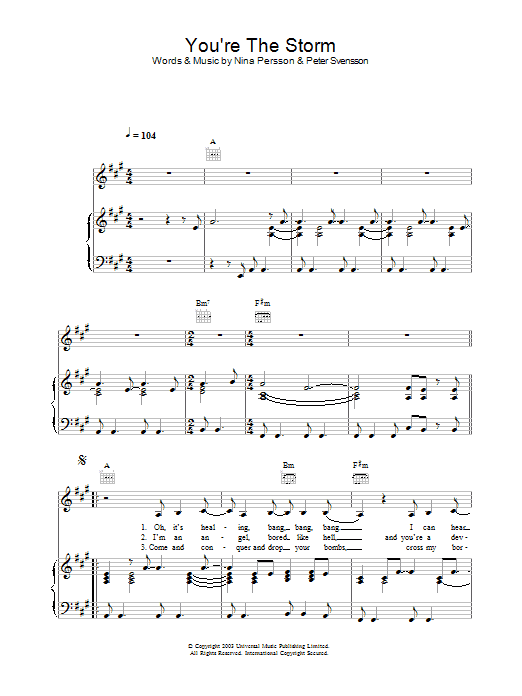The Cardigans You're The Storm sheet music preview music notes and score for Piano, Vocal & Guitar including 5 page(s)