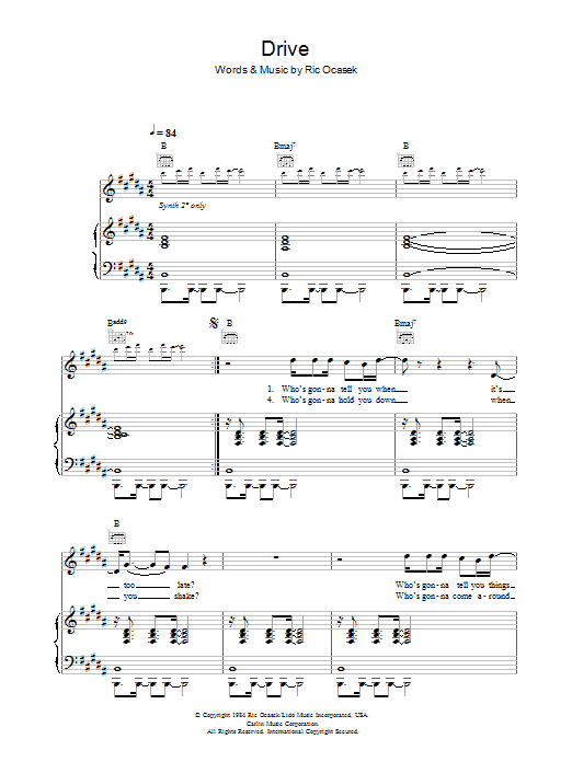 The Cars Drive sheet music preview music notes and score for Piano, Vocal & Guitar (Right-Hand Melody) including 6 page(s)