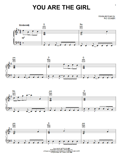 The Cars You Are The Girl sheet music preview music notes and score for Piano, Vocal & Guitar (Right-Hand Melody) including 6 page(s)