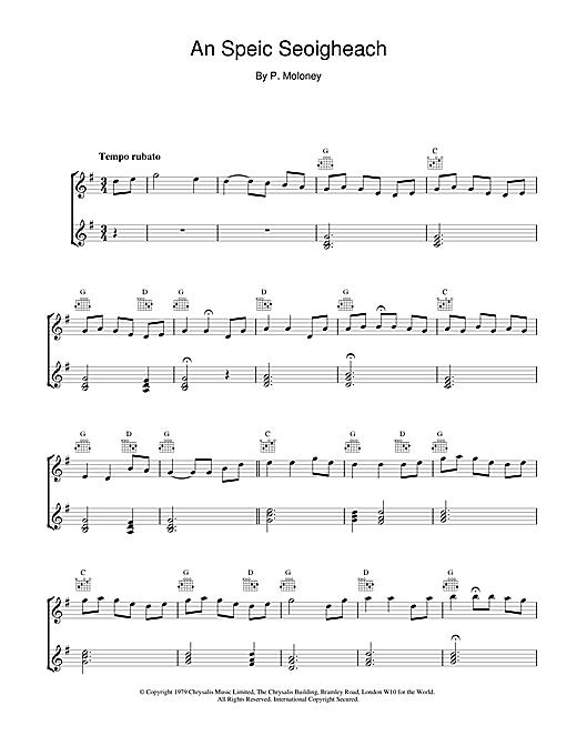 The Chieftains An Speic Seoigheach sheet music notes and chords