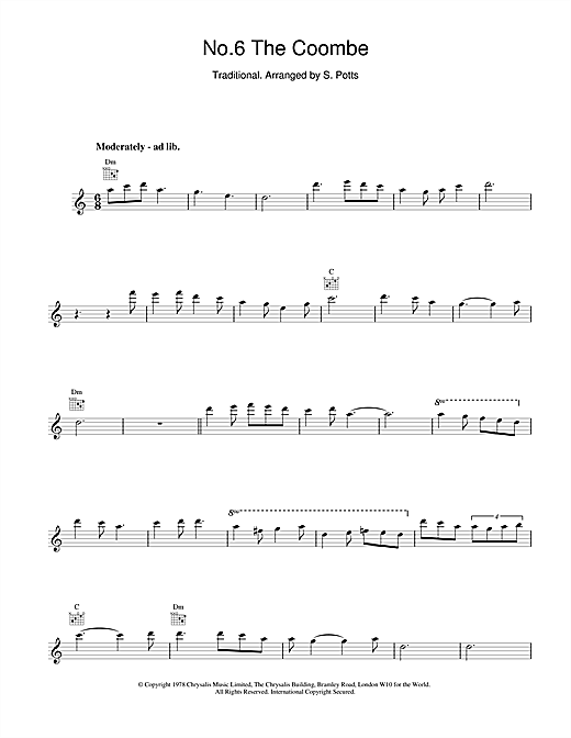 The Chieftains No.6 The Coombe sheet music notes and chords