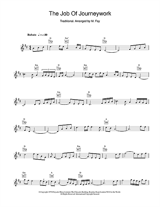 The Chieftains The Job Of Journeywork sheet music notes and chords