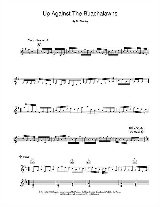 The Chieftains Up Against The Buachalawns sheet music notes and chords
