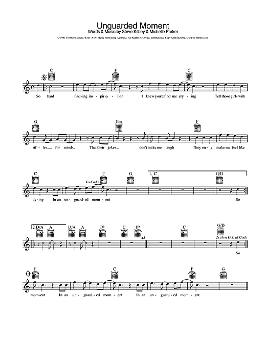 The Church Unguarded Moment sheet music preview music notes and score for Melody Line, Lyrics & Chords including 2 page(s)