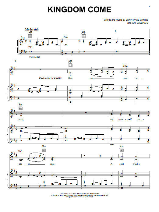 The Civil Wars Kingdom Come sheet music preview music notes and score for Piano, Vocal & Guitar (Right-Hand Melody) including 8 page(s)
