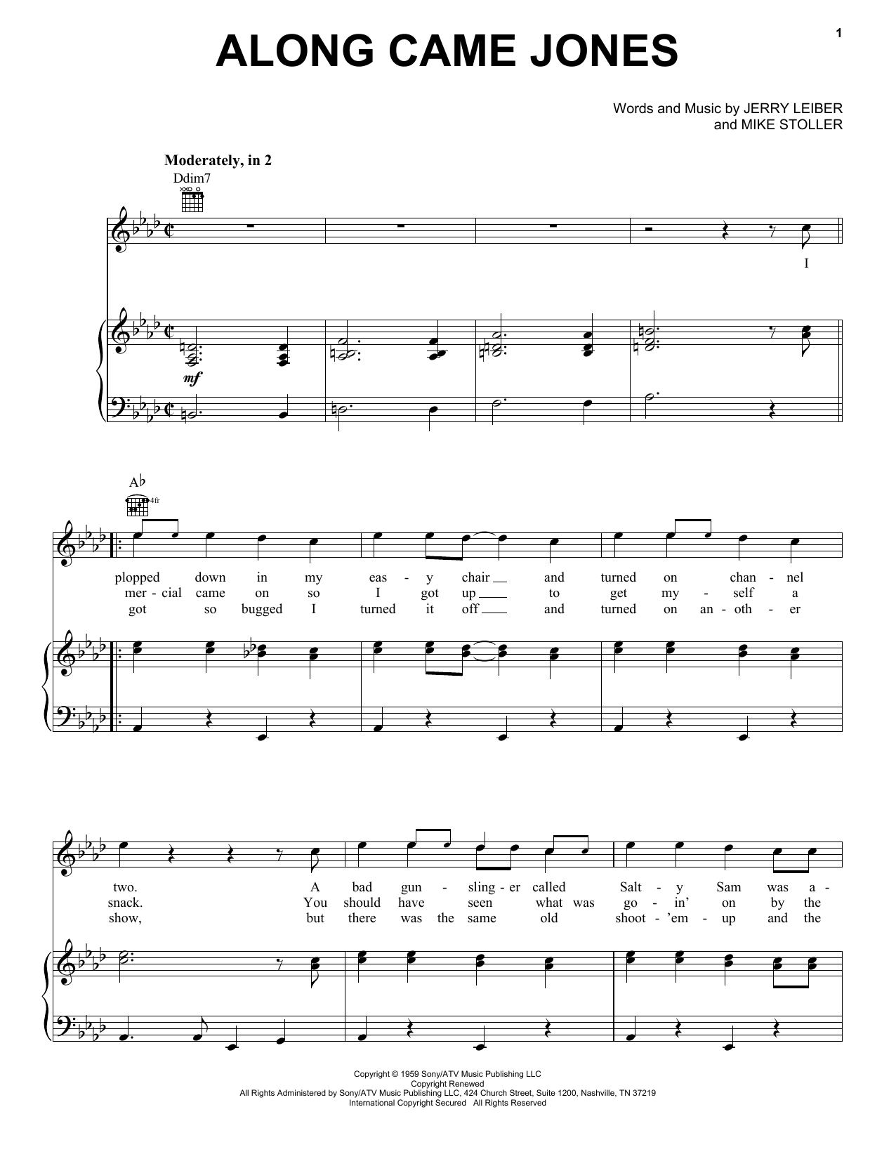 The Coasters Along Came Jones sheet music preview music notes and score for Piano, Vocal & Guitar (Right-Hand Melody) including 4 page(s)