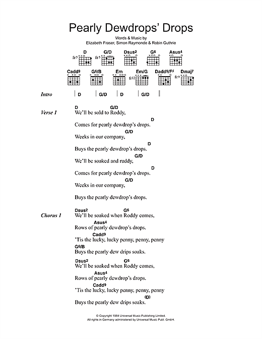 The Cocteau Twins Pearly Dewdrops' Drops sheet music preview music notes and score for Lyrics & Chords including 2 page(s)