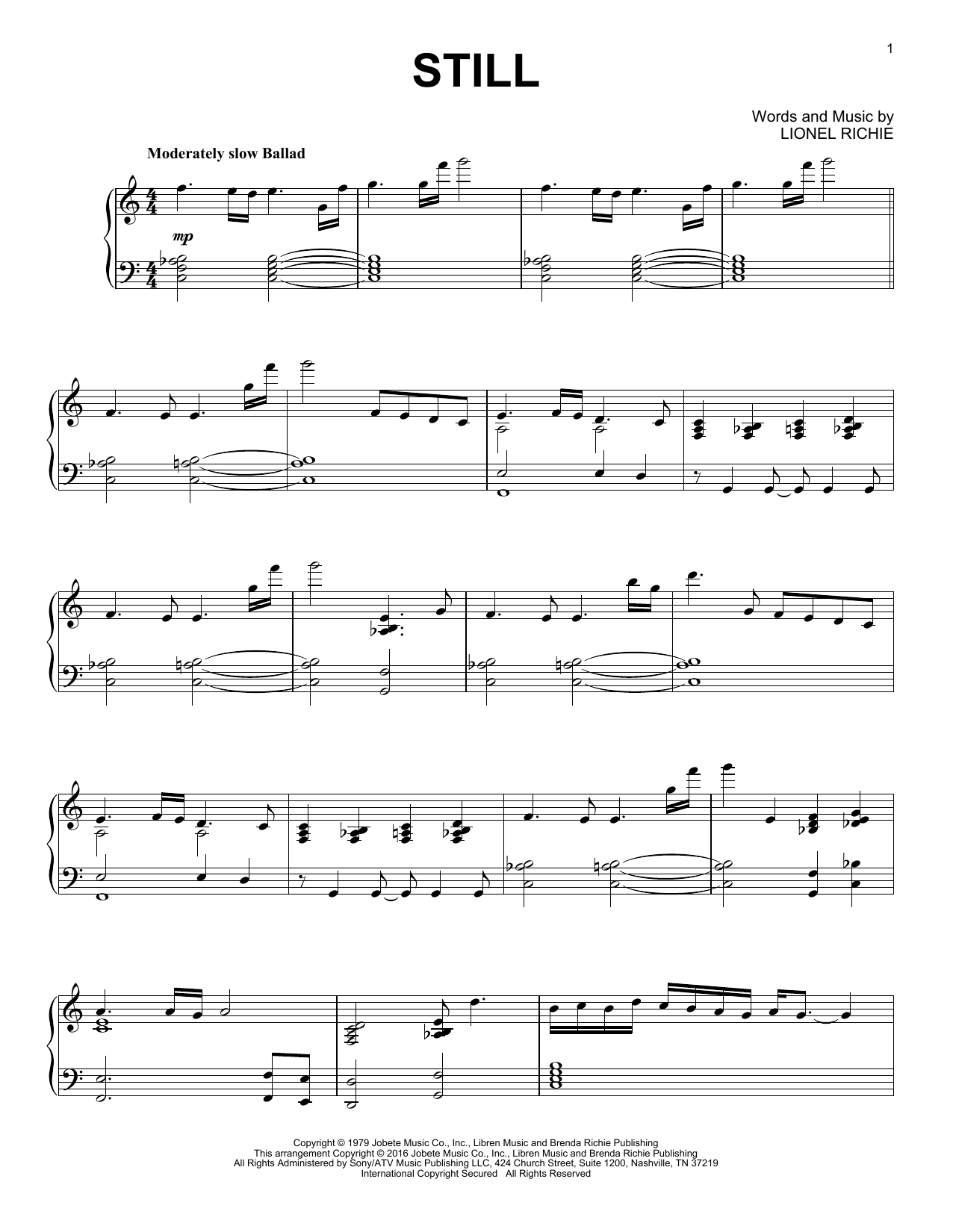 Download The Commodores 'Still' Digital Sheet Music Notes & Chords and start playing in minutes