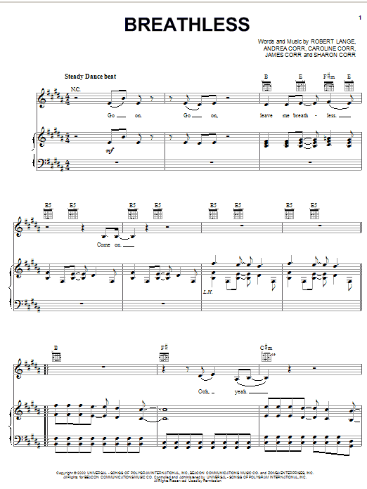 Download The Corrs 'Breathless' Digital Sheet Music Notes & Chords and start playing in minutes