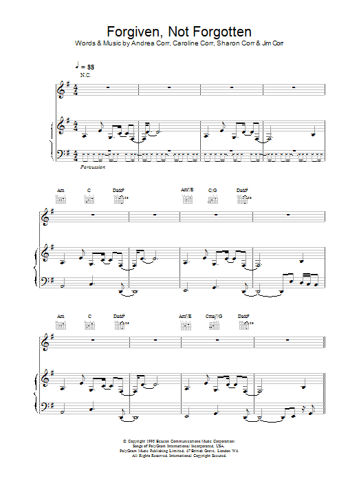 The Corrs Forgiven, Not Forgotten sheet music preview music notes and score for Guitar Tab including 12 page(s)