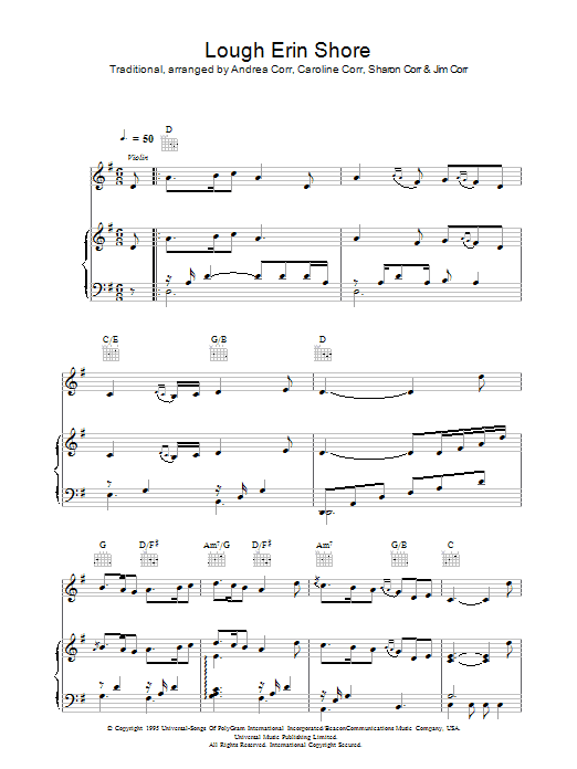 The Corrs Lough Erin Shore sheet music preview music notes and score for Guitar Tab including 2 page(s)
