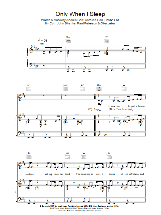 The Corrs Only When I Sleep sheet music preview music notes and score for Guitar Tab including 7 page(s)
