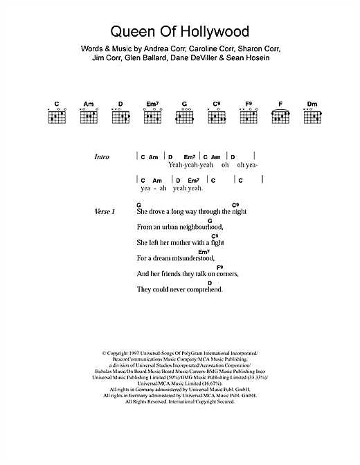 The Corrs Queen Of Hollywood sheet music notes and chords