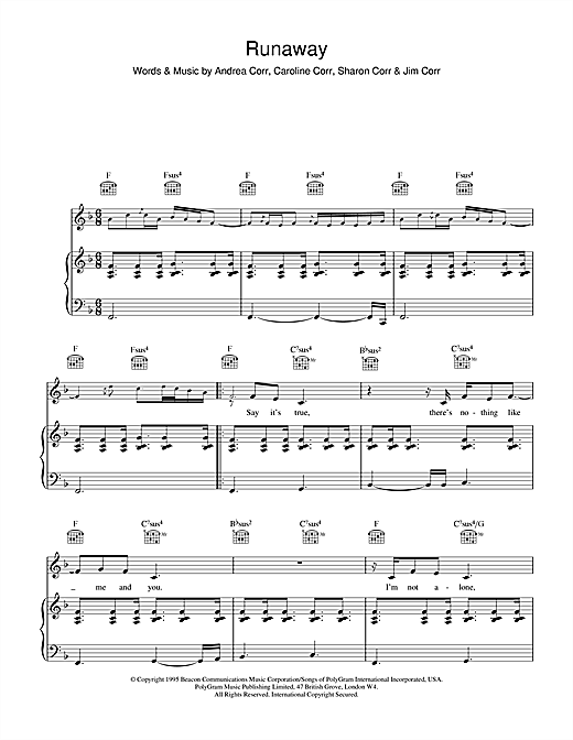 Download The Corrs 'Runaway' Digital Sheet Music Notes & Chords and start playing in minutes