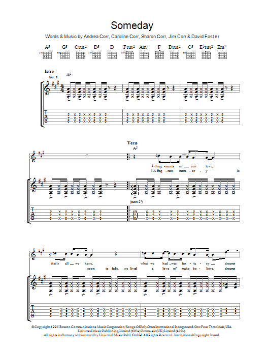 The Corrs Someday sheet music preview music notes and score for Guitar Tab including 7 page(s)
