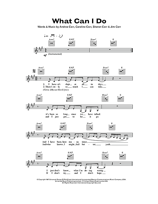 The Corrs What Can I Do sheet music notes and chords