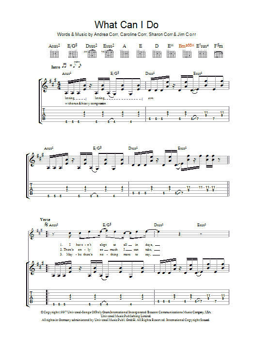 The Corrs What Can I Do sheet music preview music notes and score for Guitar Tab including 6 page(s)