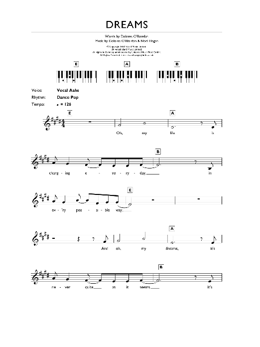 The Cranberries Dreams sheet music preview music notes and score for Keyboard including 2 page(s)