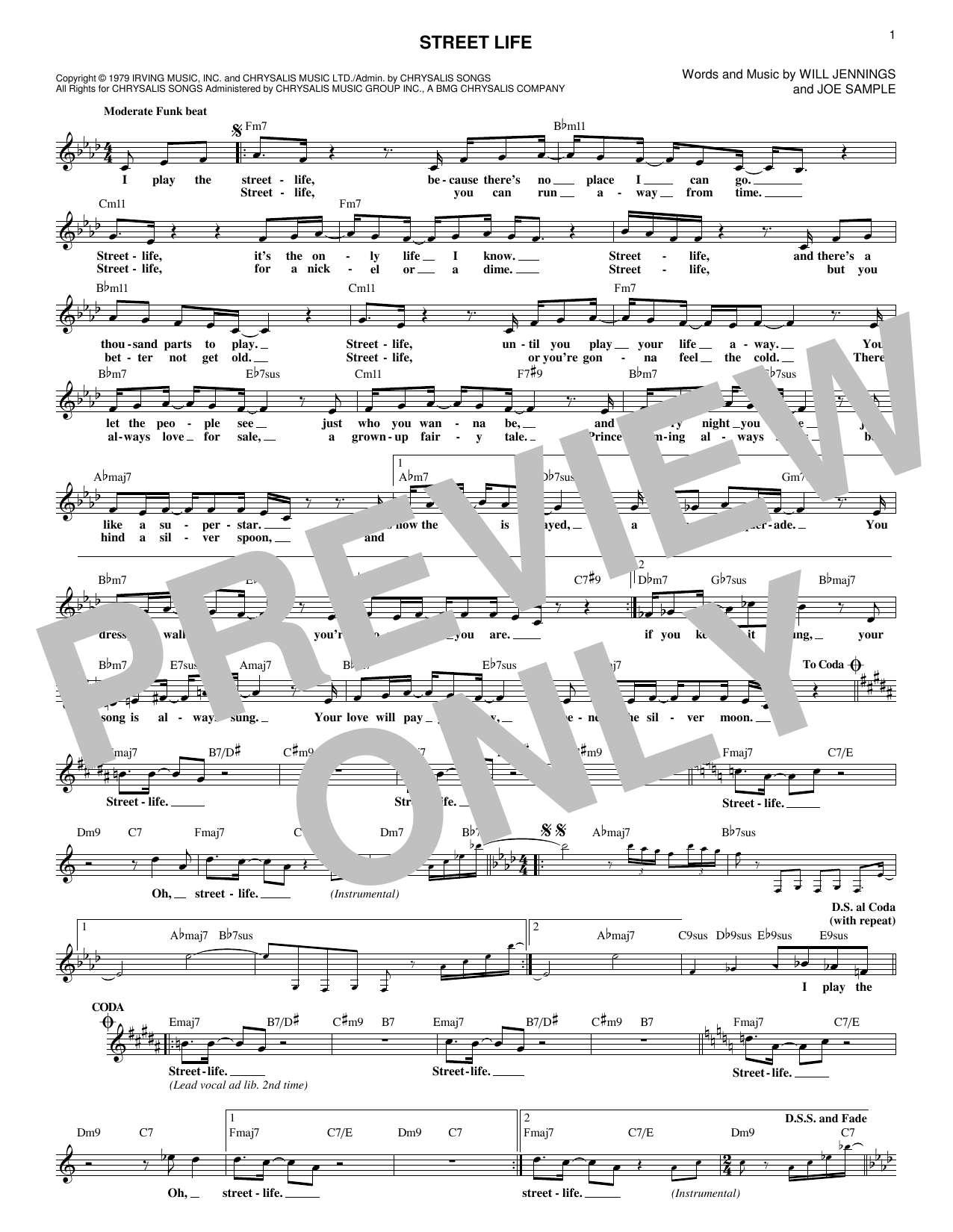 The Crusaders Street Life sheet music preview music notes and score for Piano, Vocal & Guitar (Right-Hand Melody) including 7 page(s)