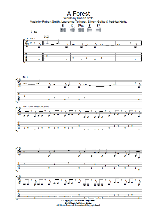 The Cure A Forest sheet music preview music notes and score for Lyrics & Chords including 2 page(s)