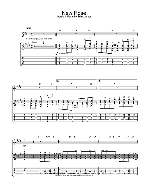 The Damned New Rose sheet music notes and chords