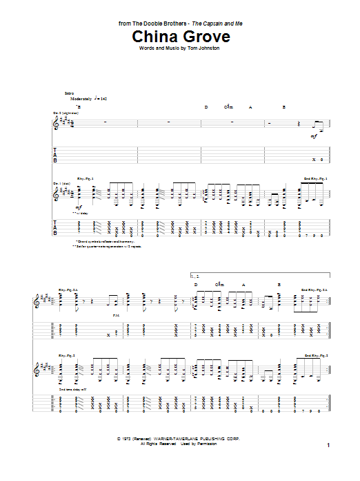 The Doobie Brothers China Grove sheet music preview music notes and score for Guitar Tab including 9 page(s)