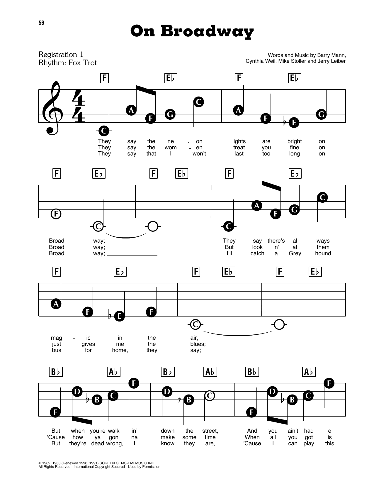 The Drifters On Broadway sheet music preview music notes and score for E-Z Play Today including 2 page(s)