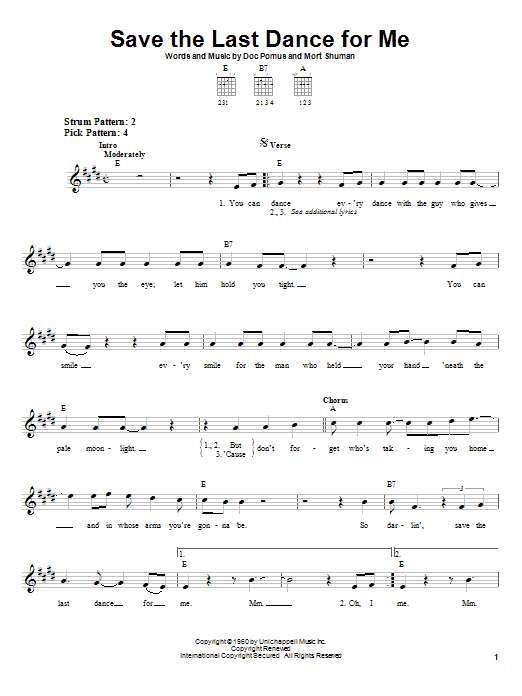 The Drifters Save The Last Dance For Me sheet music preview music notes and score for Easy Guitar including 2 page(s)
