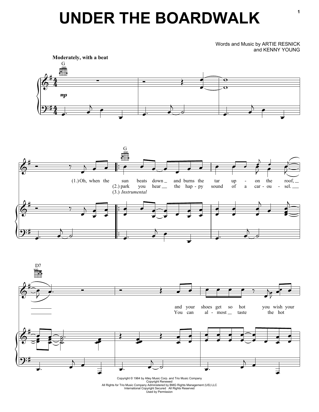 The Drifters Under The Boardwalk sheet music preview music notes and score for Guitar Tab including 3 page(s)