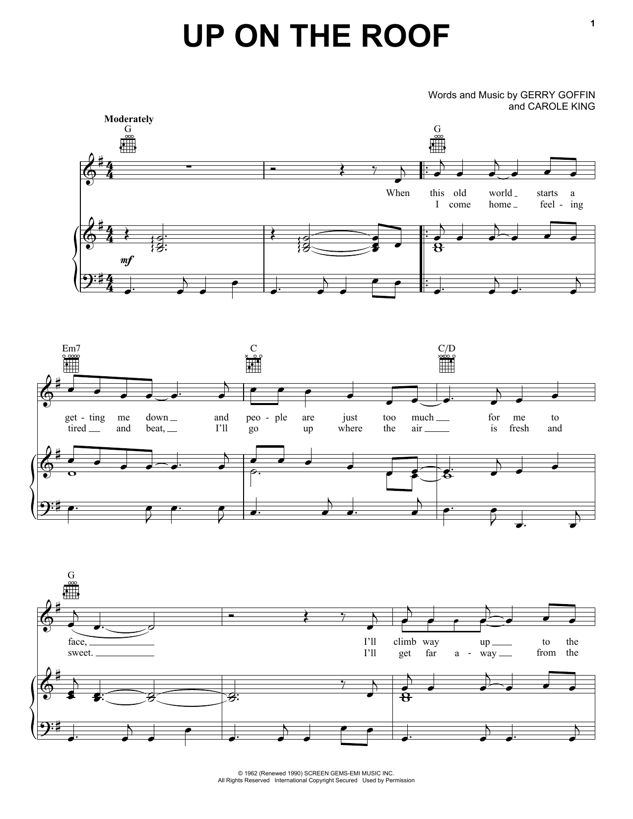 The Drifters Up On The Roof sheet music preview music notes and score for Easy Guitar including 2 page(s)
