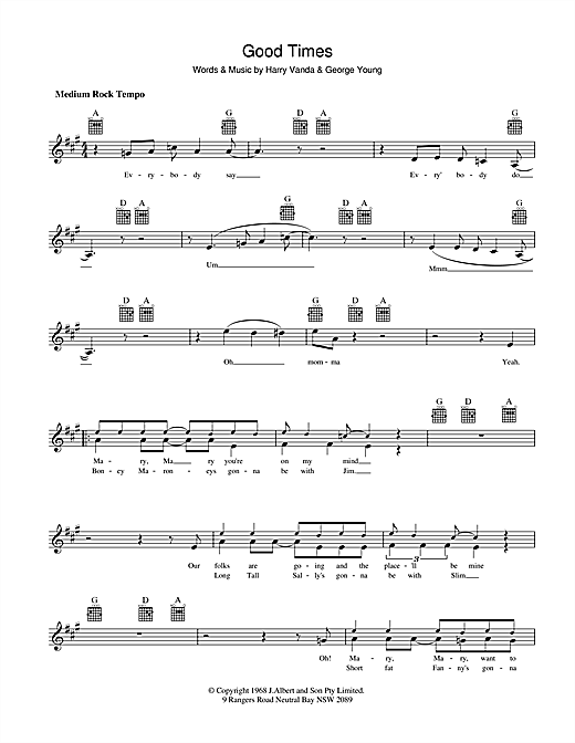 The Easybeats Good Times sheet music preview music notes and score for Melody Line, Lyrics & Chords including 2 page(s)