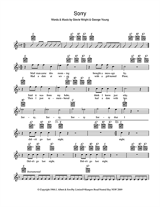 The Easybeats Sorry sheet music preview music notes and score for Melody Line, Lyrics & Chords including 2 page(s)