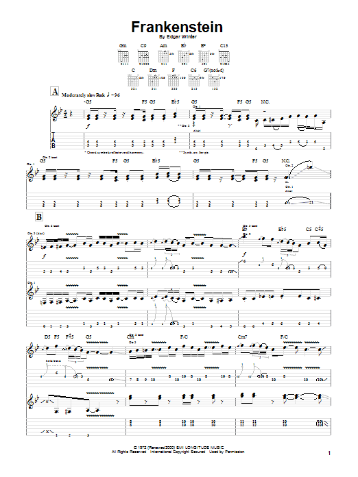 The Edgar Winter Group Frankenstein sheet music preview music notes and score for Piano, Vocal & Guitar (Right-Hand Melody) including 6 page(s)