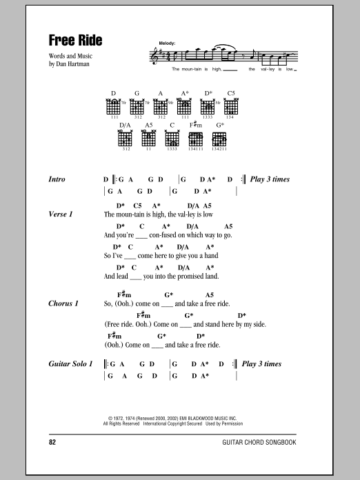 The Edgar Winter Group Free Ride sheet music preview music notes and score for Lyrics & Chords including 2 page(s)
