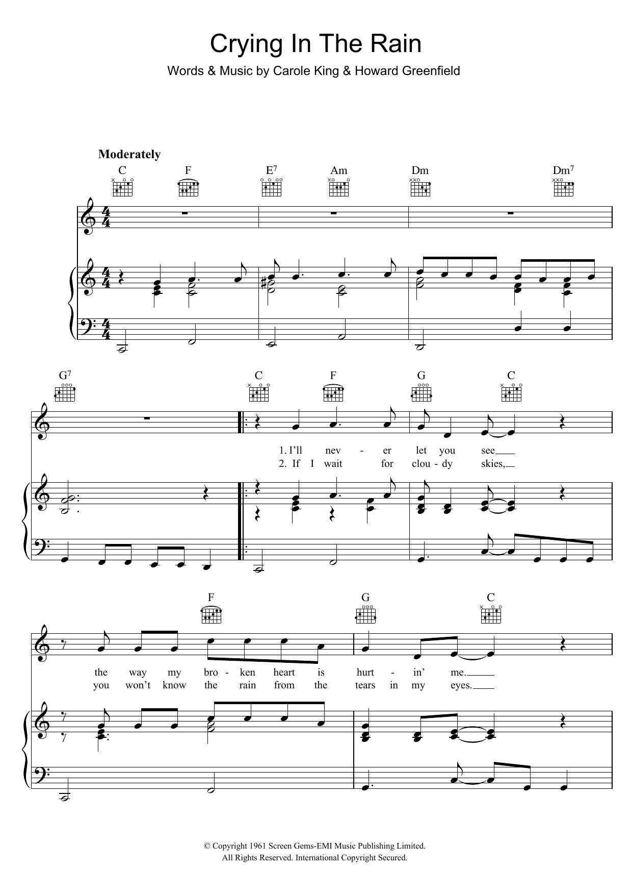 The Everly Brothers Crying In The Rain sheet music preview music notes and score for Piano, Vocal & Guitar (Right-Hand Melody) including 3 page(s)