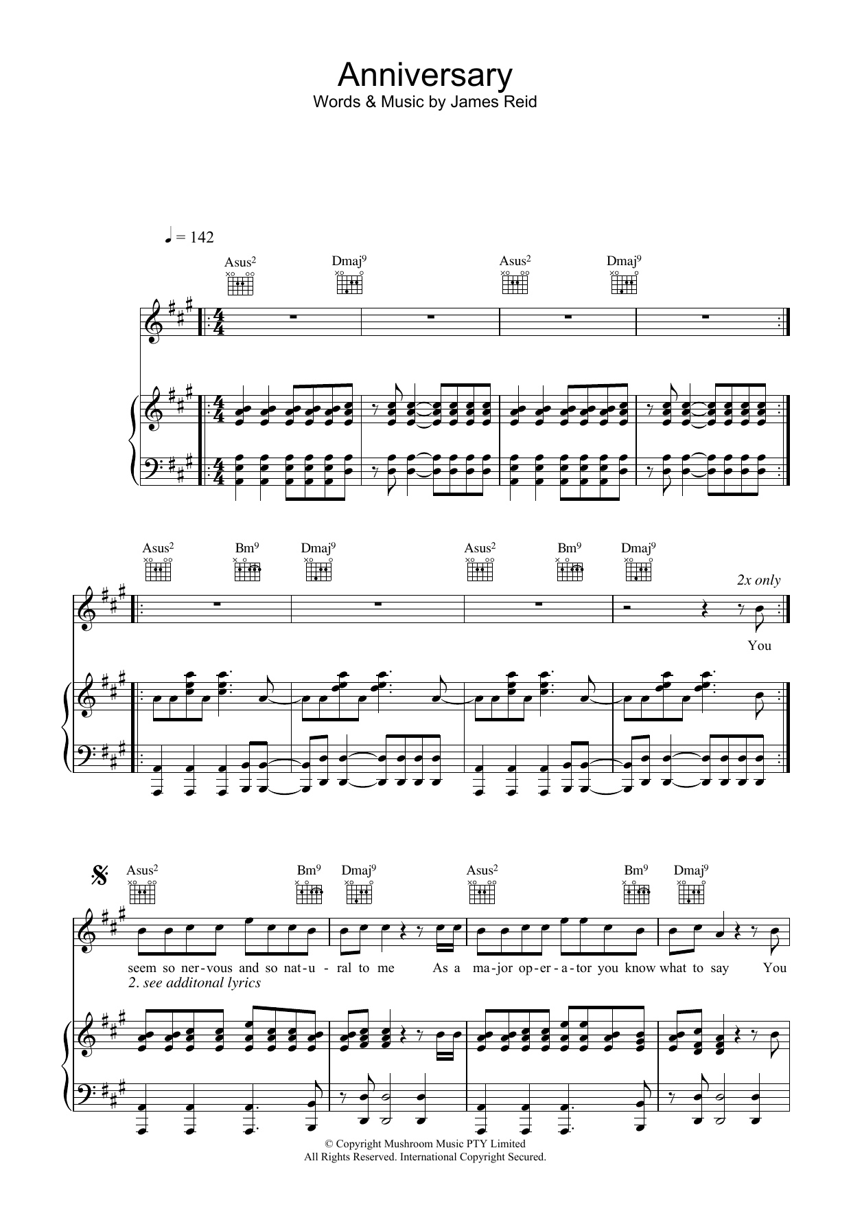 The Feelers Anniversary sheet music preview music notes and score for Piano, Vocal & Guitar (Right-Hand Melody) including 6 page(s)