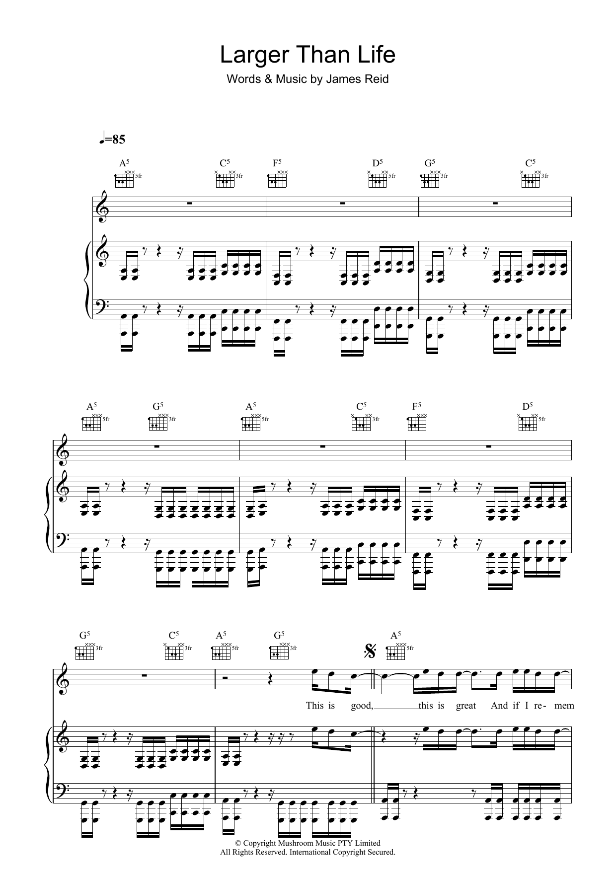 The Feelers Larger Than Life sheet music preview music notes and score for Piano, Vocal & Guitar (Right-Hand Melody) including 7 page(s)
