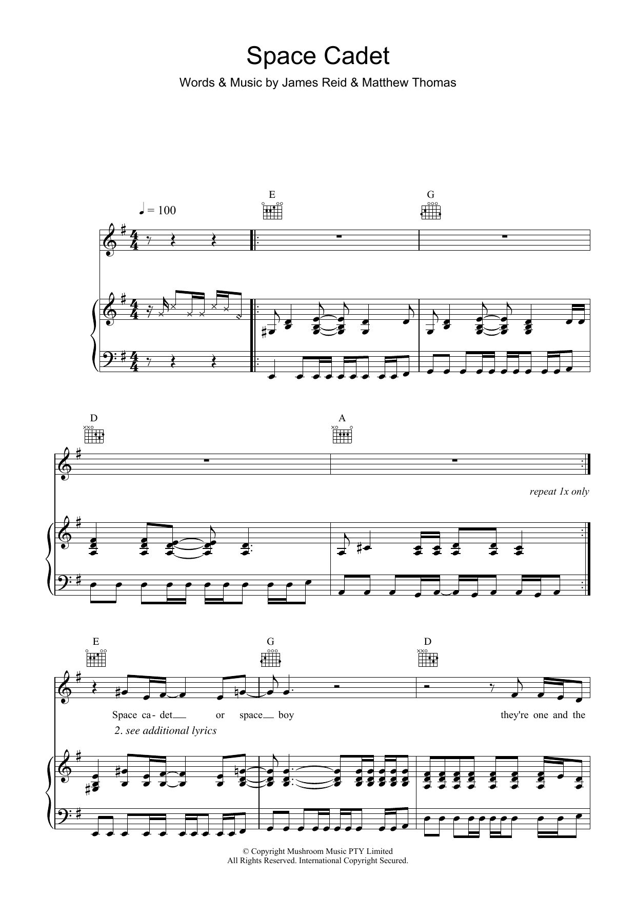 The Feelers Space Cadet sheet music preview music notes and score for Piano, Vocal & Guitar (Right-Hand Melody) including 5 page(s)