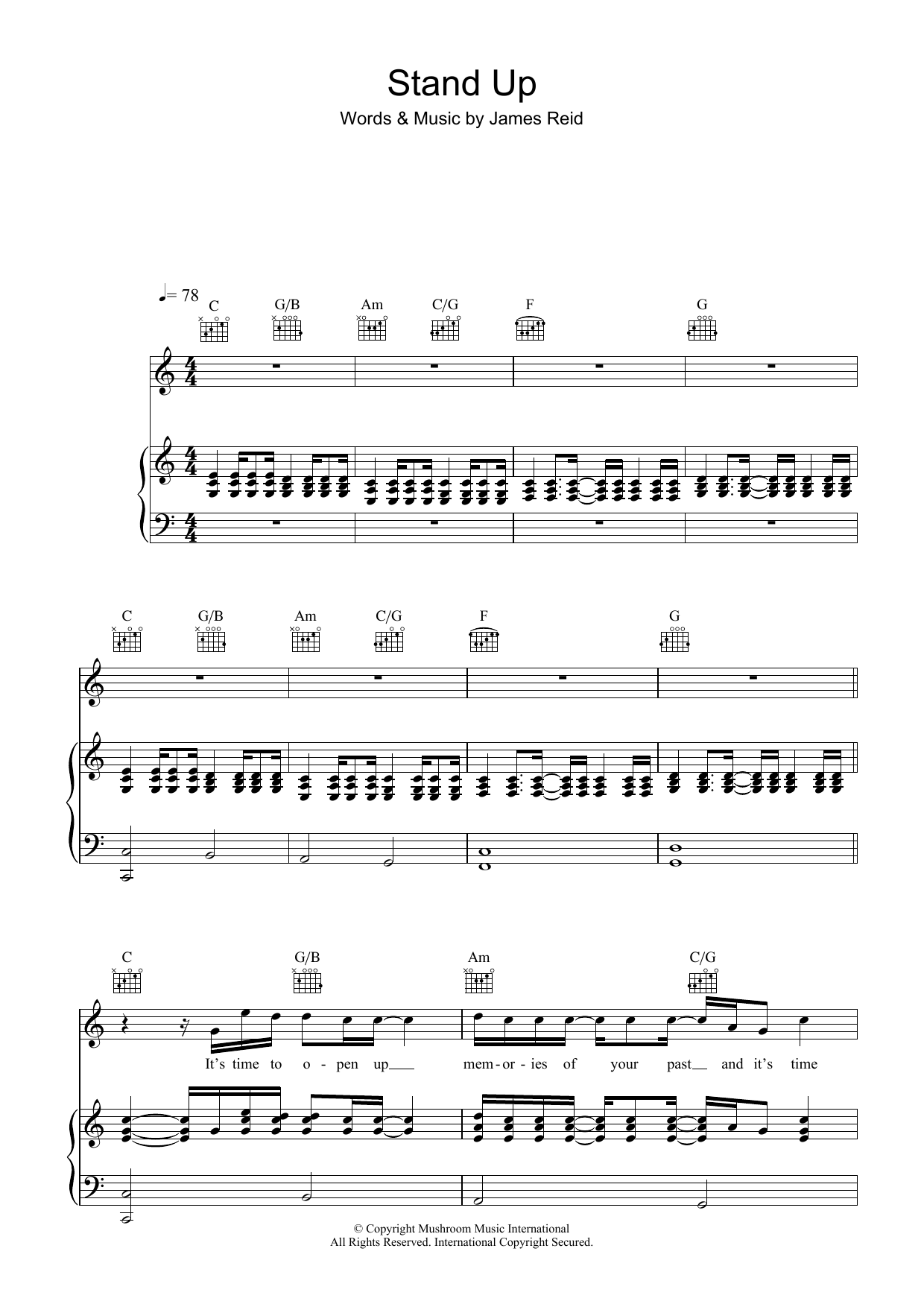The Feelers Stand Up sheet music preview music notes and score for Piano, Vocal & Guitar (Right-Hand Melody) including 6 page(s)