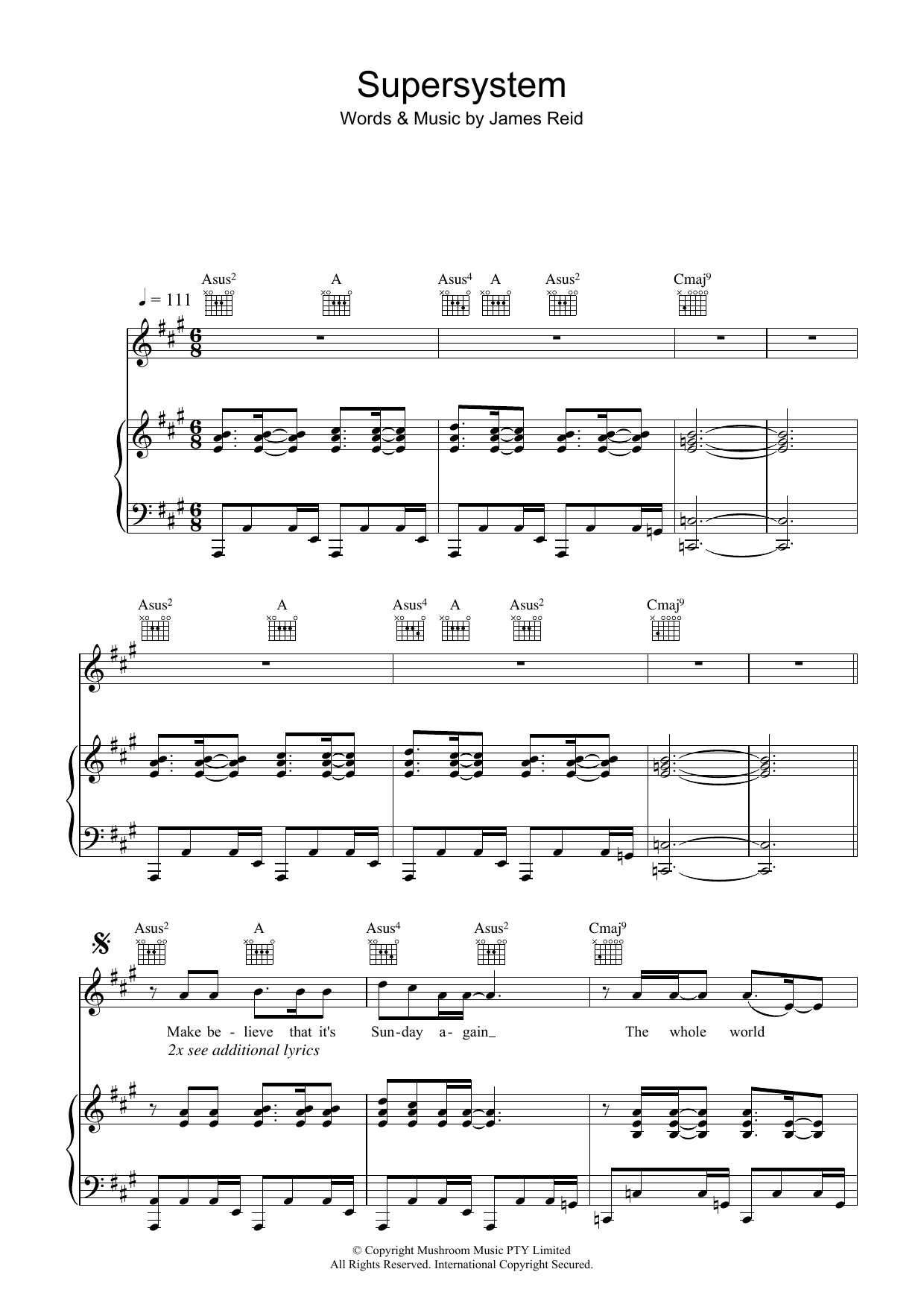 The Feelers Supersystem sheet music preview music notes and score for Piano, Vocal & Guitar (Right-Hand Melody) including 8 page(s)