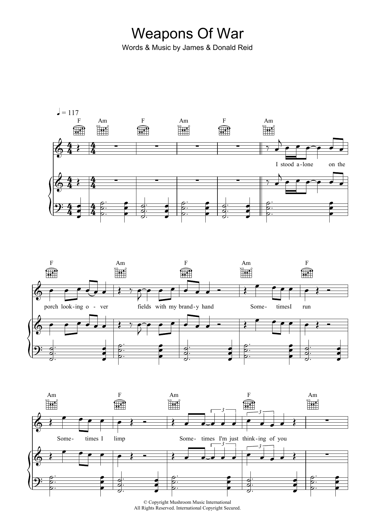 The Feelers Weapons Of War sheet music preview music notes and score for Piano, Vocal & Guitar (Right-Hand Melody) including 6 page(s)